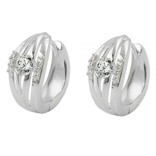 Boucles oreilles creoles Zircon argent 925 Krossin bijoux en argent 91328xx