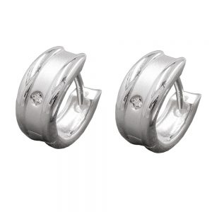 Boucles oreilles creoles Zircon argent 925 Krossin bijoux en argent 92640xx