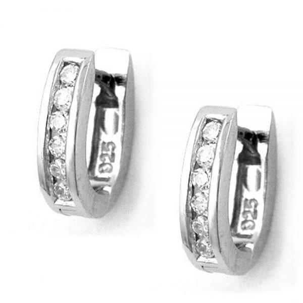 Boucles oreilles creoles Zircon argent 925 Krossin bijoux en argent 93268xx