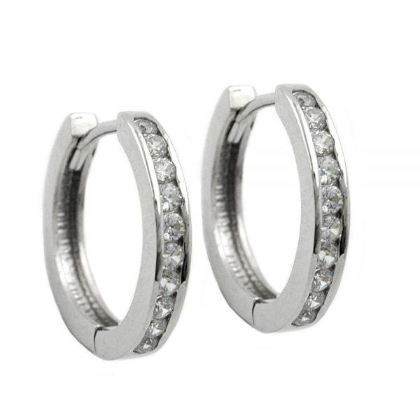 Boucles oreilles creoles Zircon argent 925 Krossin bijoux en argent 93310xx