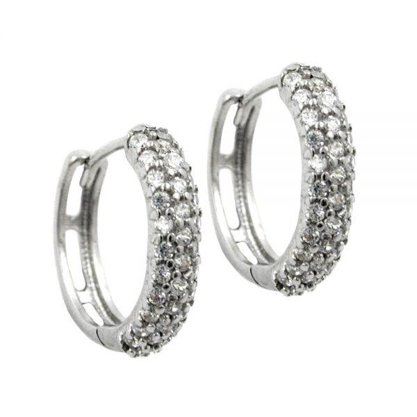 Boucles oreilles creoles Zircon argent 925 Krossin bijoux en argent 93314xx