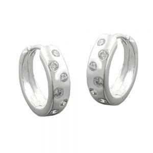 Boucles oreilles creoles Zircon argent 925 Krossin bijoux en argent 93324xx