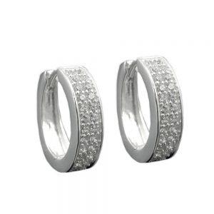 Boucles oreilles creoles Zircon argent 925 Krossin bijoux en argent 93325xx