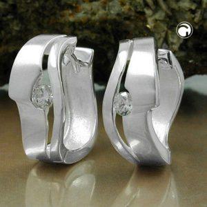 Boucles oreilles creoles Zircon cubique argent blanc 925 Krossin bijoux en argent 93104x
