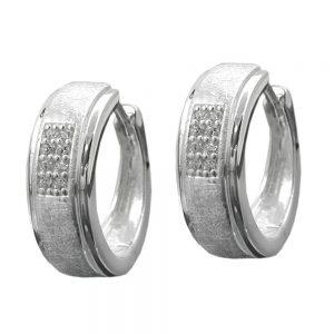 Boucles oreilles creoles Zircons argent 925 Krossin bijoux en argent 91640xx