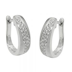 Boucles oreilles creoles Zircons argent 925 Krossin bijoux en argent 93695xx