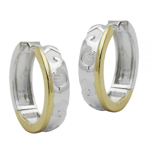 Boucles oreilles creoles a motifs argent 925 Krossin bijoux en argent 91710xx