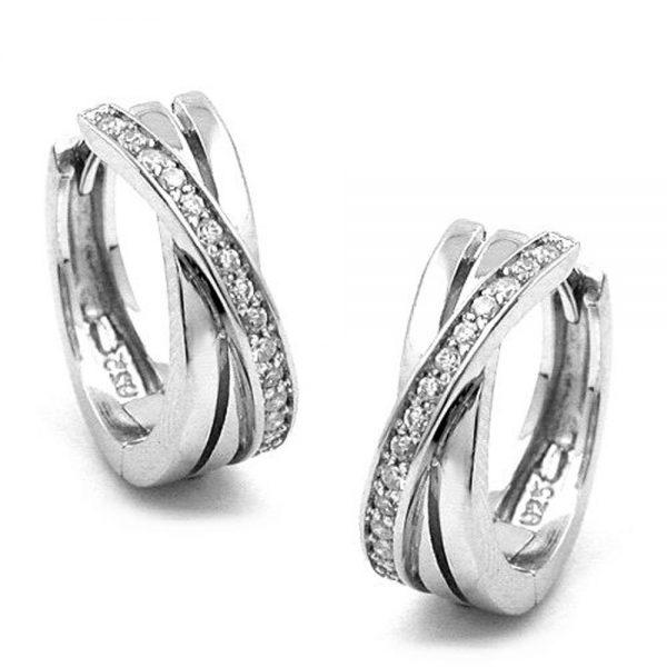 Boucles oreilles creoles avec Zircon argent 925 Krossin bijoux en argent 93269xx