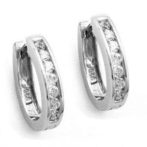 Boucles oreilles creoles avec Zircon argent 925 Krossin bijoux en argent 93270xx