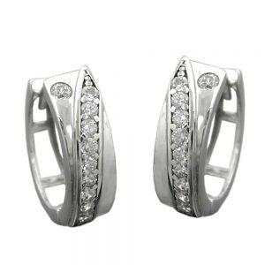 Boucles oreilles creoles avec Zircons argent 925 Krossin bijoux en argent 91903xx