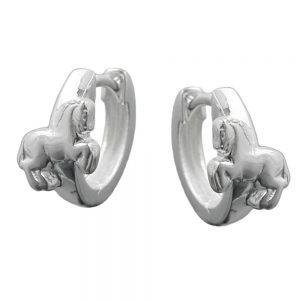 Boucles oreilles creoles avec chevaux argent 925 Krossin bijoux en argent 90869xx