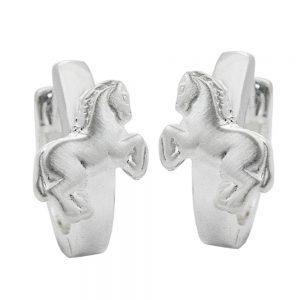 Boucles oreilles creoles avec chevaux argent 925 Krossin bijoux en argent 90932xx