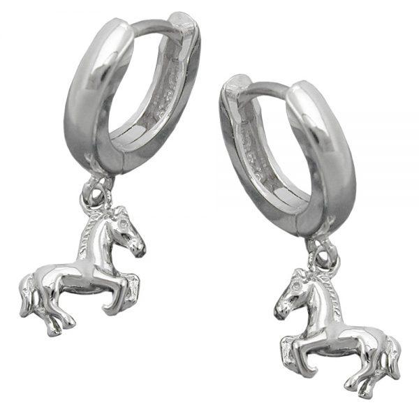 Boucles oreilles creoles avec chevaux argent 925 Krossin bijoux en argent 93430xx