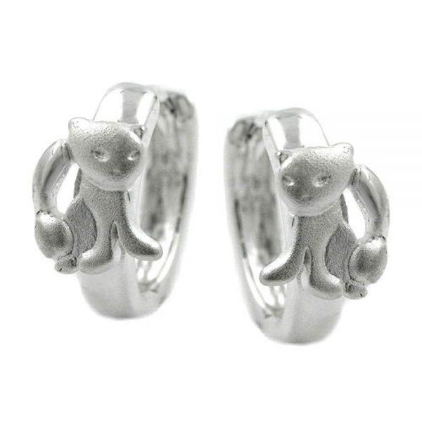 Boucles oreilles creoles avec des chats argent 925 Krossin bijoux en argent 93179xx