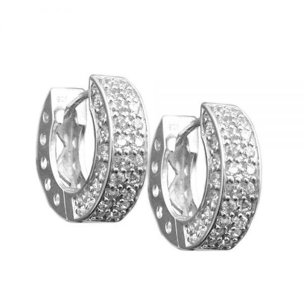 Boucles oreilles creoles blanc Zircon argent 925 Krossin bijoux en argent 93354xx