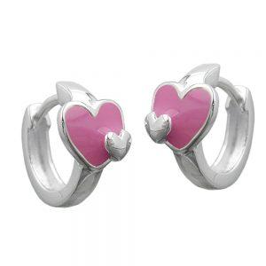 Boucles oreilles creoles coeur argent 925 Krossin bijoux en argent 92537xx