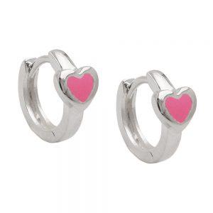 Boucles oreilles creoles coeur rose argent 925 Krossin bijoux en argent 93636xx