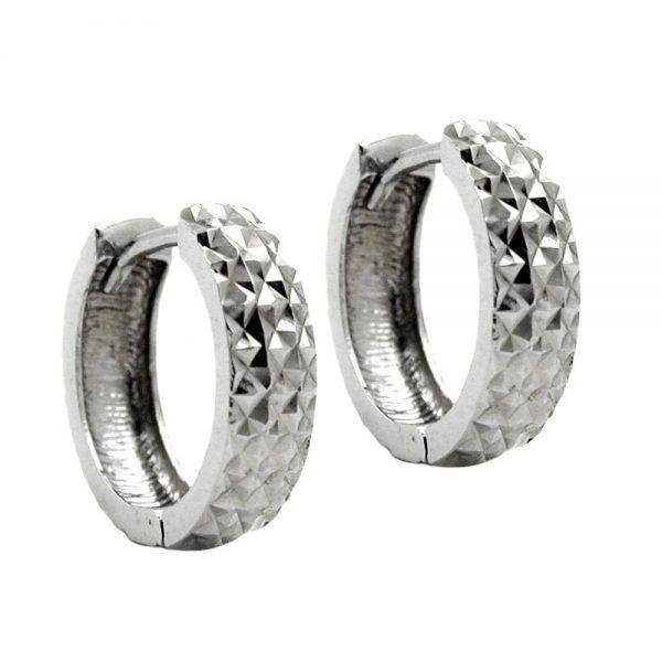 Boucles oreilles creoles diamantees en argent 925 Krossin bijoux en argent 93297xx