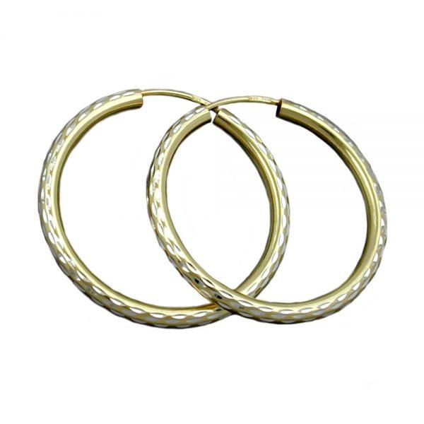 Boucles oreilles creoles diamantees en argent 925 Krossin bijoux en argent 93386xx