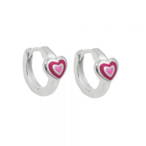 Boucles oreilles creoles en argent laque rose 925 Krossin bijoux en argent 93669xx