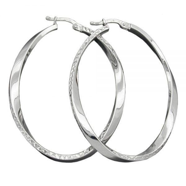 Boucles oreilles creoles forme ovale argent 925 Krossin bijoux en argent 91101xx