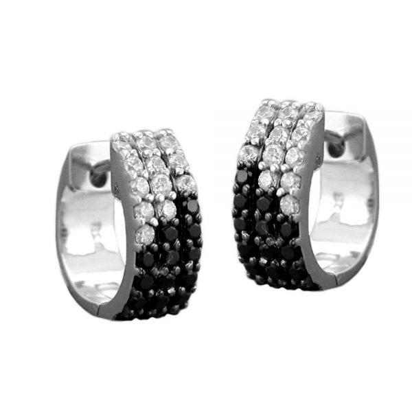 Boucles oreilles creoles noir et blanc Zircon argent 925 Krossin bijoux en argent 93366xx