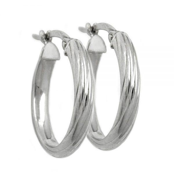 Boucles oreilles creoles ovales argent 925 Krossin bijoux en argent 93301xx
