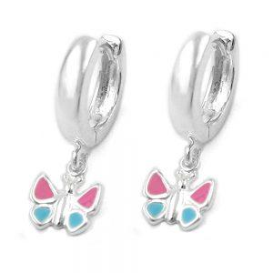 Boucles oreilles creoles papillon argent 925 Krossin bijoux en argent 91330xx
