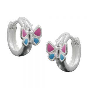 Boucles oreilles creoles papillon argent 925 Krossin bijoux en argent 92465xx