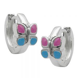 Boucles oreilles creoles papillon argent 925 Krossin bijoux en argent 92539xx