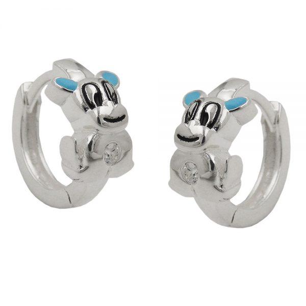 Boucles oreilles creoles petit chien argent 925 Krossin bijoux en argent 93634xx