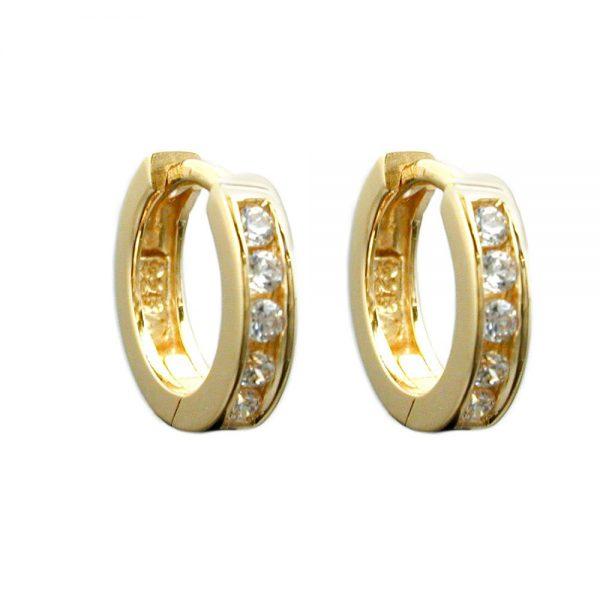 Boucles oreilles creoles plaque or Zircon argent 925 Krossin bijoux en argent 93357xx