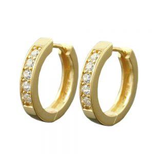 Boucles oreilles creoles plaque or Zircon argent 925 Krossin bijoux en argent 93362xx