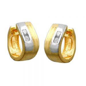 Boucles oreilles creoles plaque or argent bicolore 925 Krossin bijoux en argent 93361xx