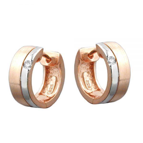 Boucles oreilles creoles plaque or rouge zircon 925 Krossin bijoux en argent 93364xx