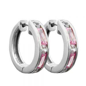 Boucles oreilles creoles rose Zircon argent 925 Krossin bijoux en argent 93359xx