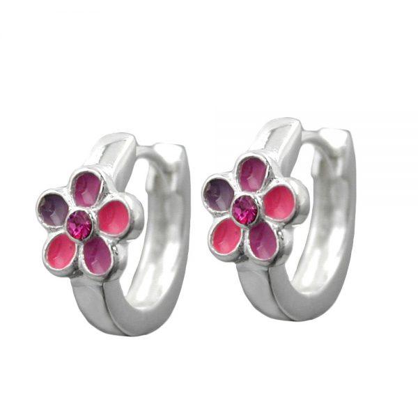 Boucles oreilles creoles roses fleurs laquees argent 925 Krossin bijoux en argent 93329xx