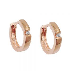 Boucles oreilles creoles rouge dore argent 925 Krossin bijoux en argent 93690xx