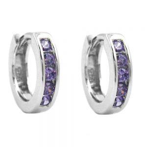 Boucles oreilles creoles violet Zircon argent 925 Krossin bijoux en argent 92048xx
