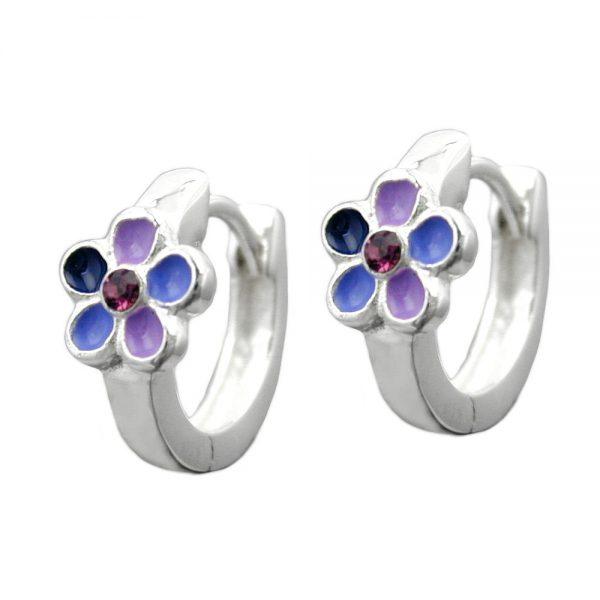 Boucles oreilles creoles violet laque fleur argent 925 Krossin bijoux en argent 93330xx