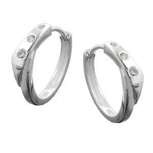 Boucles oreilles creoles zircon argent 925 Krossin bijoux en argent 90745xx