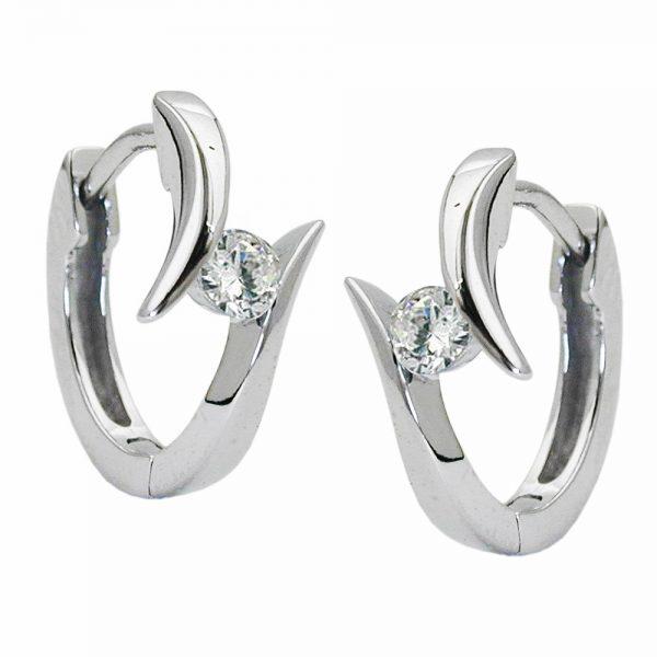 Boucles oreilles creoles zircon blanc argent 925 Krossin bijoux en argent 93223xx