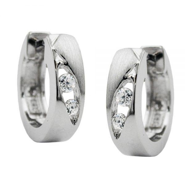 Boucles oreilles creoles zircon blanc argent 925 Krossin bijoux en argent 93236xx