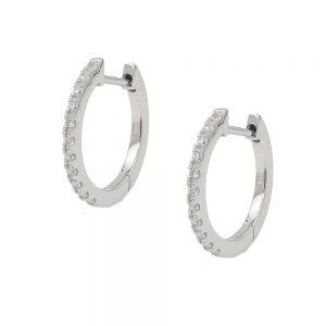 Boucles oreilles creoles zircon blanc argent 925 Krossin bijoux en argent 93787xx
