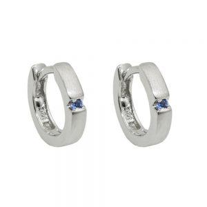 Boucles oreilles creoles zircon bleu Argent 925 Krossin bijoux en argent 93678xx