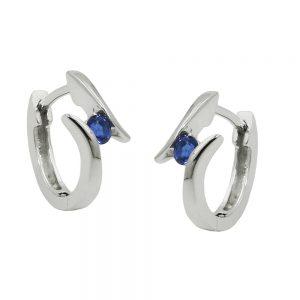 Boucles oreilles creoles zircon bleu Argent 925 Krossin bijoux en argent 93682xx