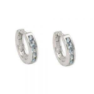 Boucles oreilles creoles zircon bleu Argent 925 Krossin bijoux en argent 93778xx