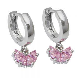 Boucles oreilles creoles zircon rose argent 925 Krossin bijoux en argent 93453xx