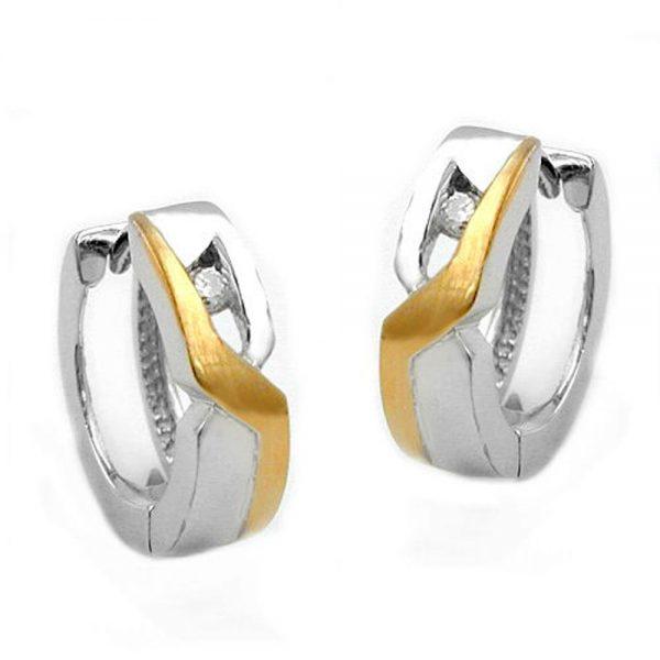 Boucles oreilles deux tons argent 925 Krossin bijoux en argent 93234xx