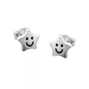 Boucles oreilles etoile au visage argent 925 Krossin bijoux en argent 90722xx